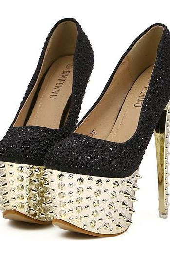 Embellished Rounded Toe High Heel Platform Stiletto Heels With Spikes