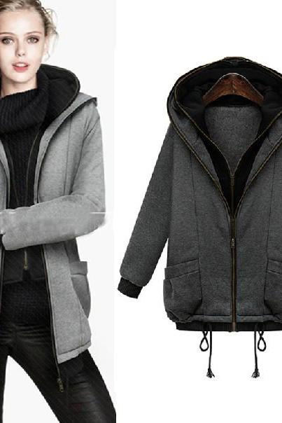 Cheap New Style Long Sleeves Zipper Design Deep Grey Regular Hooded Sweat