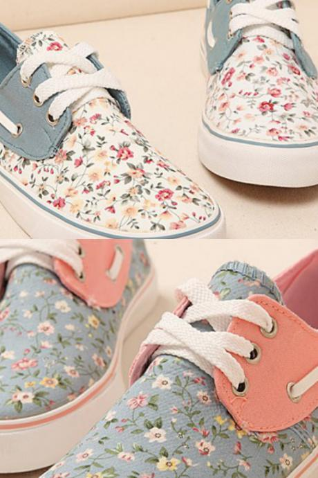 Womans Casual Shoes Sneakers Platform Summer Floral Shoes Canvas For Women Sports Shoes Flats Lace Up