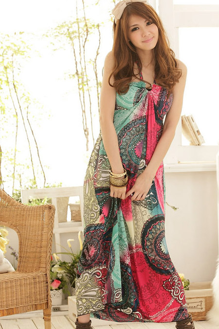 Bohemian Printed Sleeveless Cotton Maxi Dress