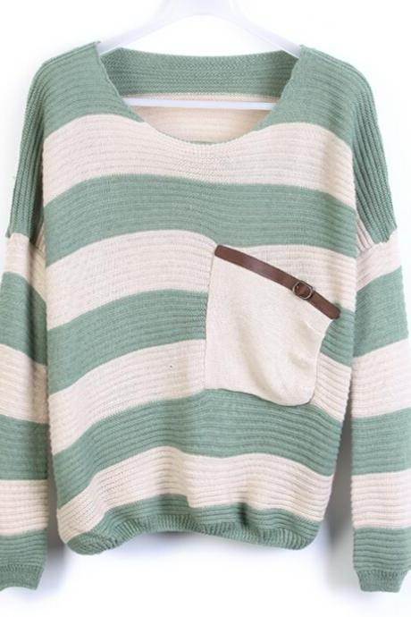 Fashion Striped Pullover Sweater #092205AL