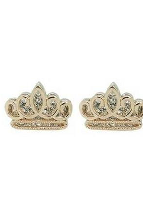 Cute Metallic Gold Crown Crystal Earrings