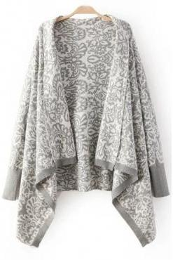 Cheap Casual Long Sleeves Retro Totem Print Grey Regular Cardigan