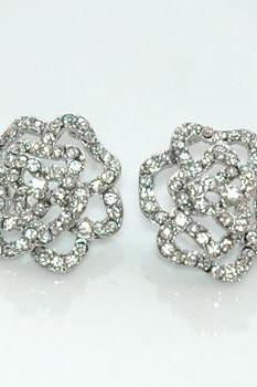 White Rhinestones Dazzling Silver Rose Earrings
