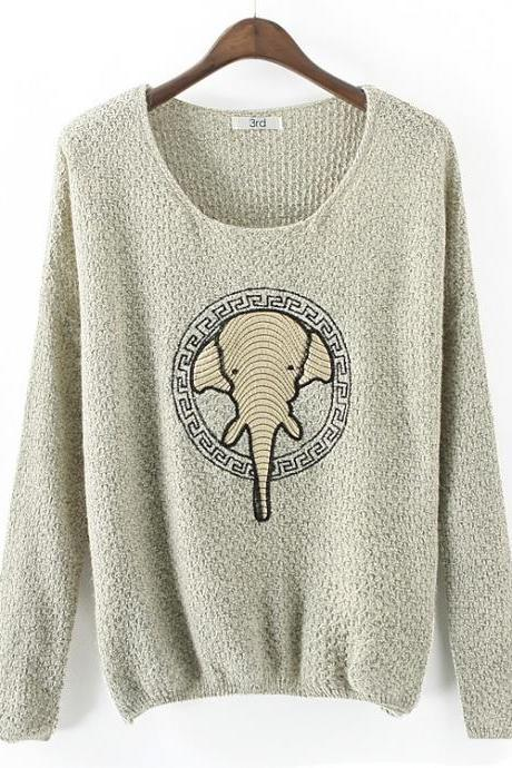 Fashion elephant patch sweater CA922DB
