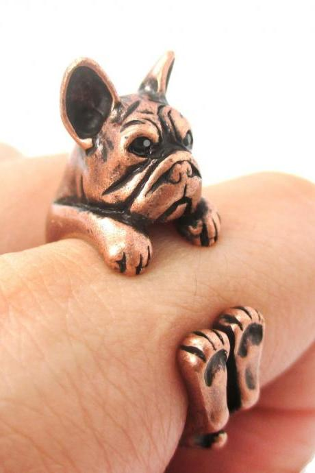 Realistic French Bulldog Shaped Animal Ring in Copper | Size 4 to 8.5