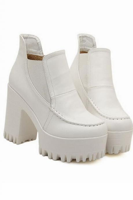 Pure White Retro Fashion Chunky Heel Boots