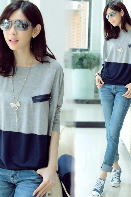 Zipper Stitching Round Neck Long-Sleeved T Shirt