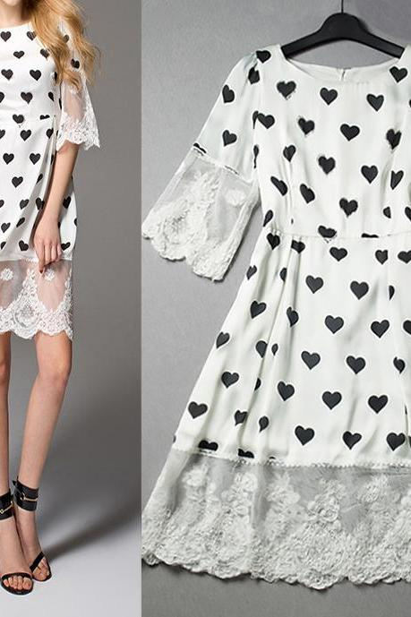 High-End Fashion Peach Heart Print Dress