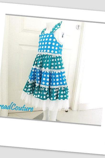Girl's Dress Sewing Pattern, Tiered Polka Dot Dress (pdf pattern)