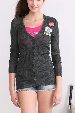 Containing fresh new fall print long-sleeved wool knit cardigan