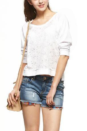 Pure simple and comfortable cotton embroidered T shirt