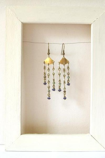 Clear and blue Czech glass cascade chandelier earrings - Summer Rain