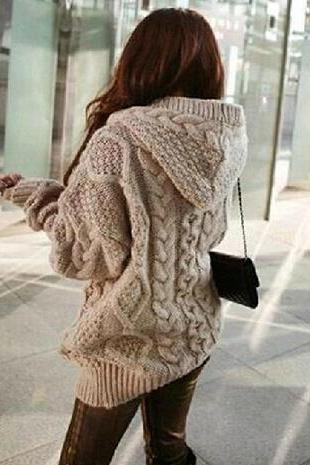 Loose Knit Cardigan Sweater Jacket #092316AD