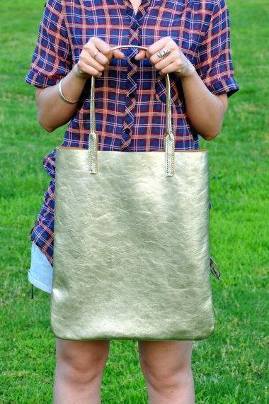 Leather Tote Bag Shoulder Bag-Color Light-Gold