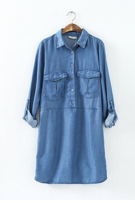 Blue Lapel Long Sleeve Pockets Denim Dress