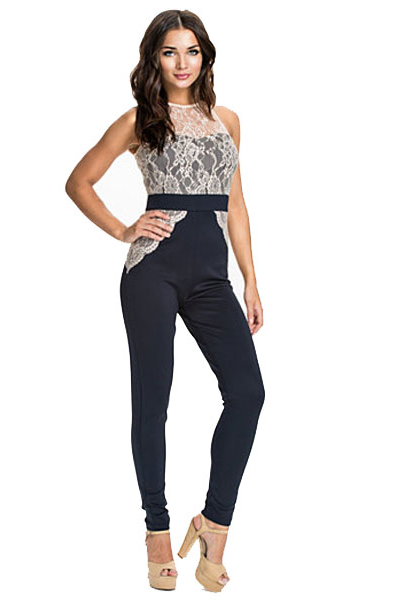 Cheap Sexy O Neck Tank Sleeveless Lace Patchwork Polyester One-piece Skinny Jumpsuit