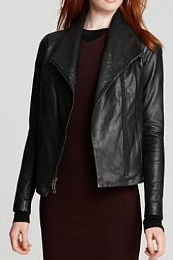 Black Leather Jacket, Biker Jacket, Moto Jacket Featuring Front Zipper