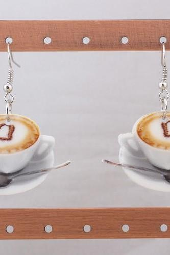 *Free Shipping* 1 pair coffee heart food earrings colorful new 2014 cute lovely printing acrylic design summer style for girls woman jewelry