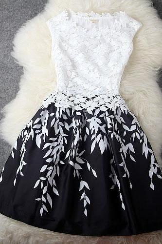 Leaves Stitching Lace Embroidered Dress