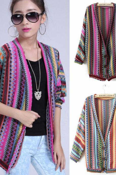 Mayan Pattern Embroidery Cardigan
