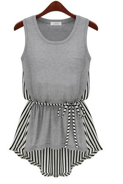 Casual Round Neck Sleeveless Striped Chiffon Tees/T-Shirts For Woman