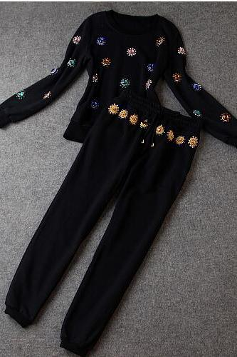 Heavy Hand-Set Diamond Fashion Jacket + Pants