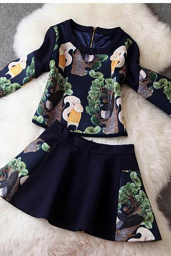 Cute cartoon squirrels printing jacket + skirt (two sets)
