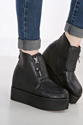 Side Zipper Design Black Platform Wedge Ankle Boots