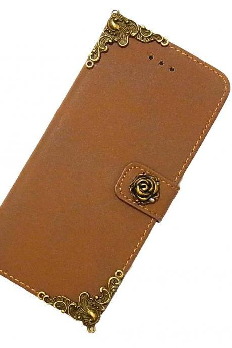 Rose iPhone 6 Wallet case,iphone 6 leather case,iphone 6 Flip Case,Victorian Rose iphone 6 PLUS leather wallet case cover Brown