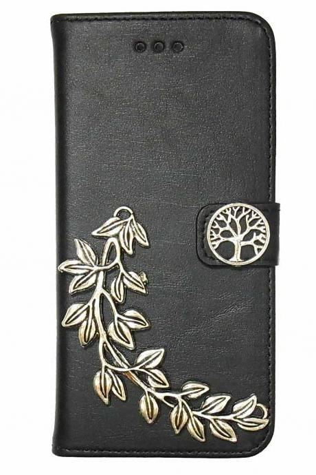 Tree iPhone 6 Wallet case,iphone 6 leather case,iphone 6 Flip Case,Victorian Tree Leaf iPhone 6 PLUS leather wallet case cover Black