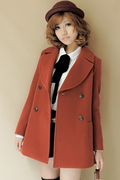 Cheap Korean Style Turndown Collar Long Sleeves Double-breasted Wine Red Regular Woolen Coat