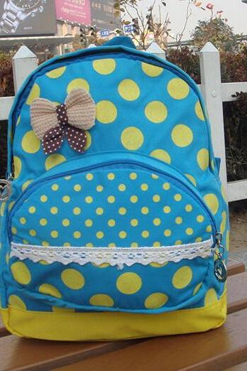 Polka Dots Backpack With BowKnot