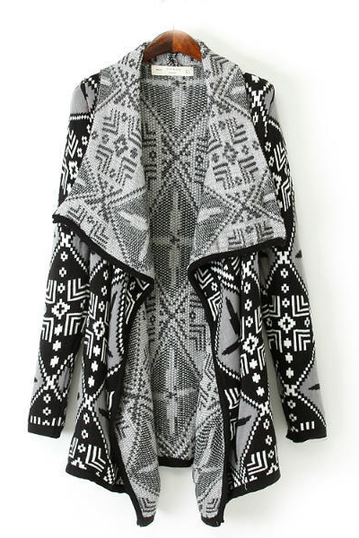 Cheap New Style Long Sleeves Geometric Patterns Print Long Knitting Cardigan