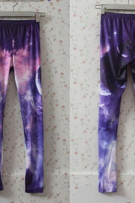 Purple Universe Galaxy Print Leggings