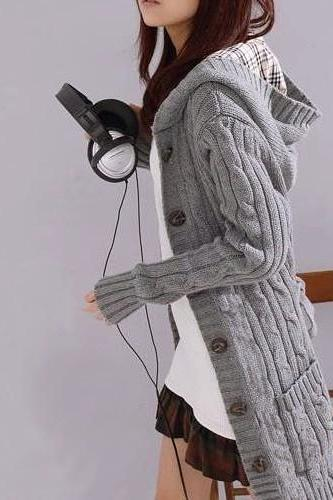 AA Hooded Cable Knit Cardigan