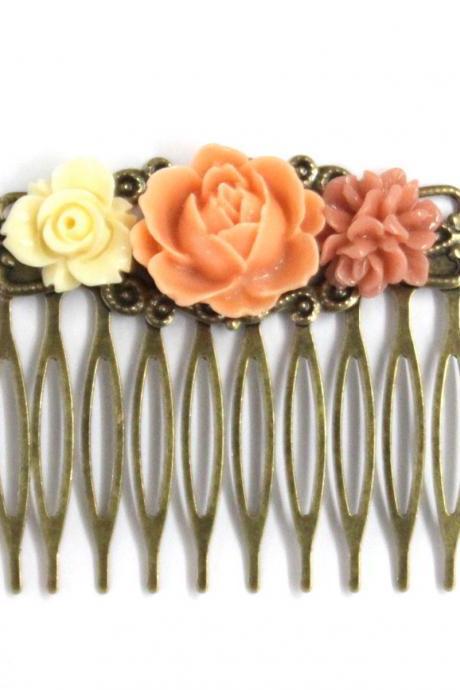 Flower Hair Comb Coral Delights