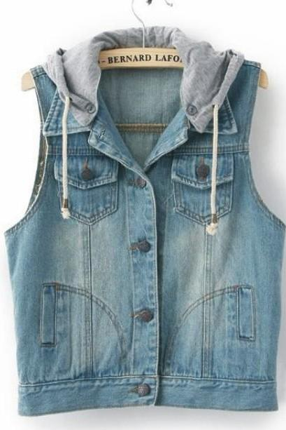 Retro sleeveless hooded vest jacket #092501DA