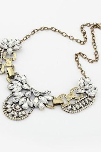 Crystal Floral Gold Chain Statement Necklace