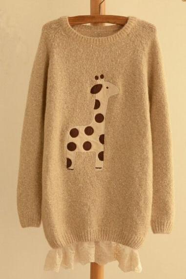 Super cute cartoon giraffe loose sweater #092512AD