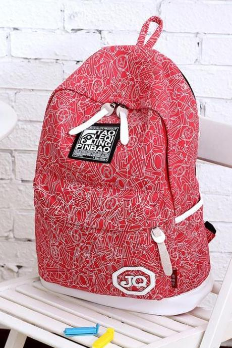Letters print sport canvas girl backpack