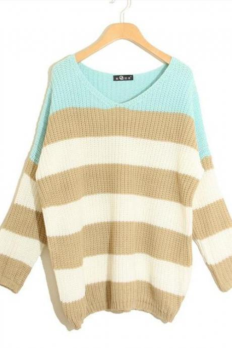 Stripe Matching Color Loose All-Match Long Sweater