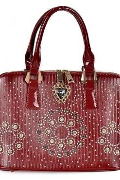 Cheap Fashion Zipper Design Rhinestones Embellished Solid Red PU Clutches Bag