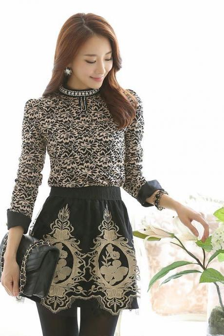 Vintage Design Lace Floral Long Sleeve Beaded Top