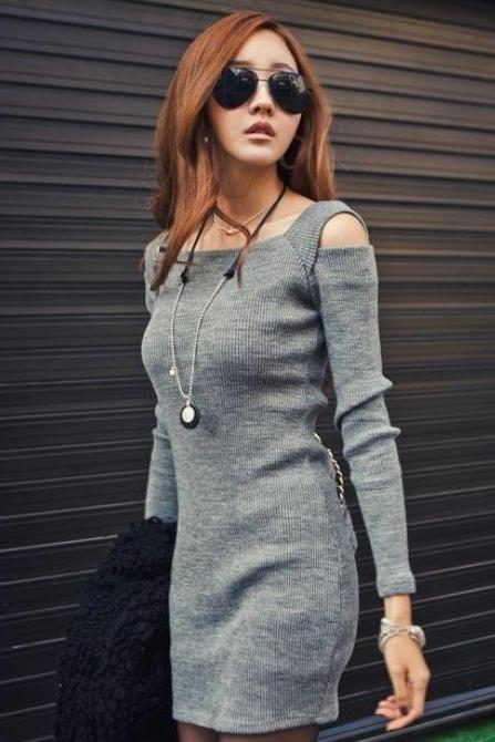 Gray Pullover Dress Tops With Square Neckline
