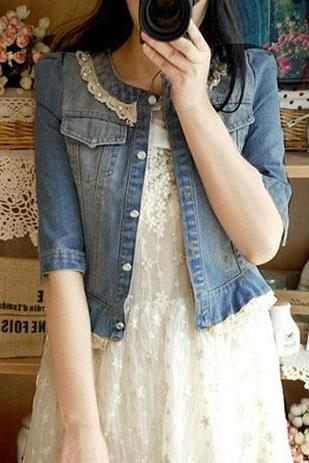 Crew Neck Beaded Lace Cropped Blue Denim Jacket Coat