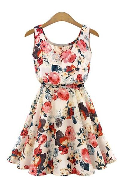 Floral Printed Pleated Dress With Tie Waist