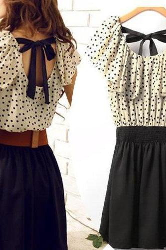 Lovely Dress With Polla Dot Belt Bow