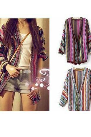 Striped Cardigan Sweater National Wind #092604KL