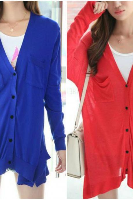 Double Pockets V Neck Cardigan in 2 Colors